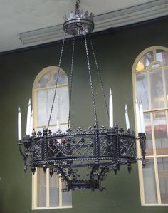 Antique Gothic Revival Iron Chandelier