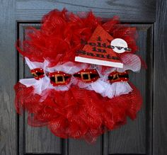 I Believe In Santa Christmas Deco Mesh Wreath by WelcomeHomeWreath