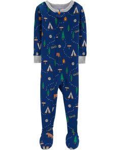 82b71463a3d1f Baby Boy 1-Piece Camping Snug Fit Cotton PJs