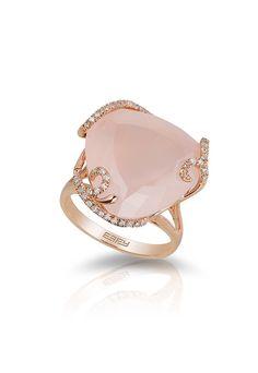 14K Rose Gold Diamond and Rose Quartz Ring, 16.45 TCW