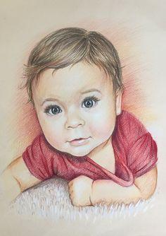 12x16 Custom portrait, baby Portrait, gift, , pencil portrait, drawing,  custom portrait, portrait from photo, personalized portrait