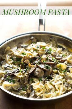 "This rich and creamy mushroom pasta only takes 30 minutes to make – it's easy enough for weeknight dinners, but totally ""guest-worthy"", too! Serve it with a fresh green salad and garlic bread. Creamy Mushroom Pasta, Creamy Mushrooms, Stuffed Mushrooms, Stuffed Peppers, Pasta Dinner Recipes, Easy Pasta Recipes, Cooking Recipes, 30 Minute Dinners, Winter Food"