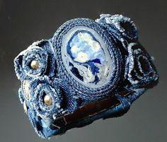 Blue Jean Denim & Lace Cuff Bracelet-Denim Cuff Bracelet - -Jeans Bracelet - Blue Denim Cuff from eMDdesign on Etsy. Bracelet Denim, Denim Earrings, Lace Bracelet, Bracelets Bleus, Fabric Bracelets, Handmade Bracelets, Beaded Bracelets, Textile Jewelry, Fabric Jewelry