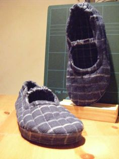 Flip-flops covered with fabric. Slippers with flip-flops. I think I might make these for a family member.