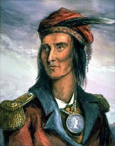 """Shawnee chief Tecumseh, probably born in the old Shawnee village of Piqua, near the site of Springfield, Ohio, between 1768 and 1780. About 1800 his eloquence and his self-control made him a leader in conferences between the Indians and whites. Tecumseh and to his brother Tenskwatawa, popularly called """"the Prophet"""", put together a scheme to organize a great democratic confederacy of tribes to resist the encroachment of the whites."""