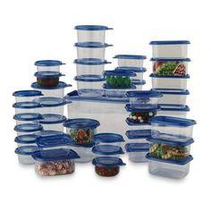 88 Piece Plastic Food Storage Container Set Microwave Safe Kitchen Meal Prep #88PiecePlasticFoodStorage