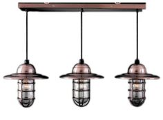 "Industrial chandelier in ""satin steel"""