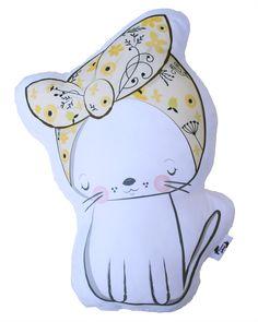 Fehér cicás ölelke párna - White cat pillow