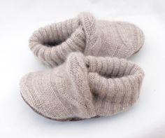 Unisex Upcycled Tan Cashmere Baby Booties