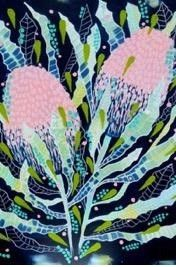 This close up of the glorious banksia showcases the flower in pastel hues on a black background, balanced by the textural brushstrokes of the leaves. These iconic Australian flowers are a favourite with many native birds for both their flowers and. Australian Gifts, Australian Flowers, Color Pop, Colour, Native Australians, Thick Cardboard, Brush Strokes, Bold Colors, A3