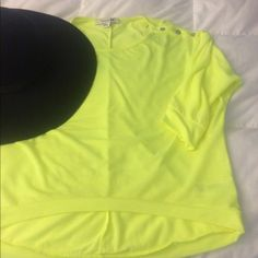 F21 Neon Top Perfect top for the girl that likes to make a statement. Bright neon green top with 3/4 length sleeves. Perfect with cut off shorts for summer. Color of top might vary slightly from the pictures. Let me know if you have any questions  Forever 21 Tops Tees - Short Sleeve