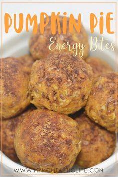 Easy Pumpkin Pie Energy Bites Great for breastfeeding mamas! Recipe | Lactation | Breastmilk Boost | Milk Supply | Fall | Autumn | Pumpkin Spice | Pumpkin Appetizers | Dessert