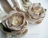 KANDACE Ivory gardenia flowers and feathers shoe clips, weddings, special occasions