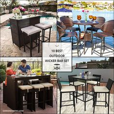 10 Best Outdoor Wicker Bar Set Rattan Garden Furniture, Patio Furniture Sets, Bar Set, Wicker, Backyard, Outdoor Decor, Home Decor, Patio, Decoration Home