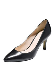 Juliana Leather Mid-Heel Pump,  Black by Cole Haan at Neiman Marcus.