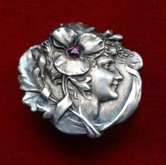 VINTAGE UNGER BROTHERS ART NOUVEAU STERLING WOMAN W/ PURPLE STONE BROOCH PIN