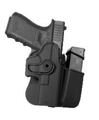Glock 17 / Glock 22 / Glock 31 / Glock 19 / Glock 23 / Glock 32 / Glock 36 Polymer Retention Roto Holster with Integrated Magazine Pouch IMI-Defense Glock 22, Gun Holster, Guns And Ammo, Hand Guns, Gun Quotes, Cool Stuff, Edc, Survival, Pouch