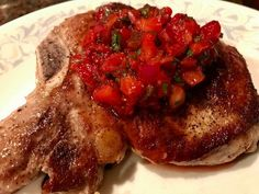 Delicious on a pan seared pork chop! Candied Jalapenos, Jalapeno Salsa, Baked Beans, Pork Chops, Bruschetta, Cilantro, Dinners, Strawberry, Appetizers