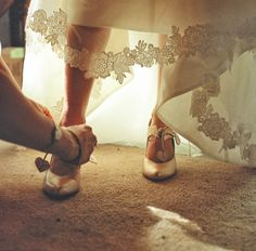 Sharon_Daniel neat lace edging and heart string heeled shoes