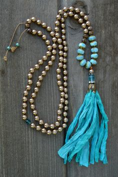 Sunlit Shores Long Sari Silk Bohemian Tassel by PaisleyGreyJewelry