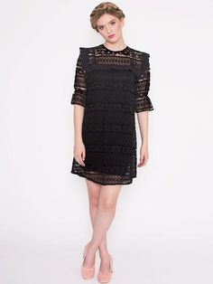 Dahlia Premium: Muswell Hill Black Lace Dress with Frilly Bib