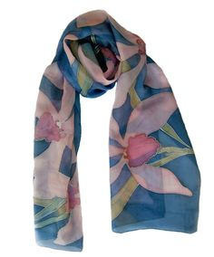 Orchids Hand painted silk scarf. Painted silk scarves