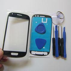 Biru s3 mini kaca luar untuk samsung sentuh lcd layar digitizer lensa kaca depan gt-i8190 i8190 + alat + adhesive gratis pengiriman