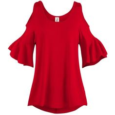 Spaghetti Strap Cold Shoulder Tunic Tops, 003-Red, US S at Amazon... ($19) ❤ liked on Polyvore featuring tops, tunics, cold shoulder tunic, cold shoulder tops, red tunic, spaghetti strap tunic and cut shoulder tops