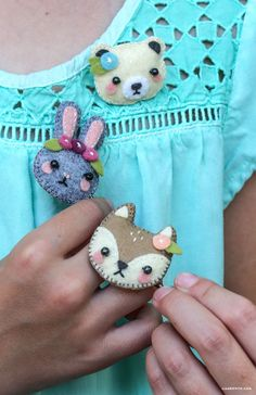 Mini Felt Animal Hair Accessories