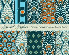 Art DECO Scrapbook Paper PEACOCK Feathers Digital Scrapbooking Background Papers 8.5 x 11 Teal Blue Orange 10 Sheets 1657gg