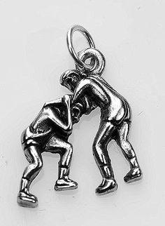 New Best ultimate wrestler wrestling fighting Sterling silver .925 charm jewelry