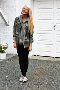 Get this look (jacket, sweatshirt, jeans, sneakers) http://kalei.do/WfC9HTnCUHiNYIuo