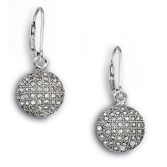 Pave Piazza Collection; Sterling Silver set Micro Pave CZ Lever Back Earrings
