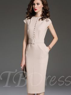 Apricot Single-Breasted Cap Sleeve Women's Sheath Dress Simple Dresses, Elegant Dresses, Vintage Dresses, Office Dresses For Women, Dresses For Work, Clothes For Women, Classy Work Outfits, Classy Dress, Suit Fashion