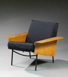 Pierre guariche , Ed.Airborne fauteuil bas modèle g10 (1954), structure métallique, piétement tubulaire laqué noir