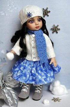 "Snow Drift A Hand Knit Sweater Hat Scarf Skirt for Patsy Ann Estelle 10""Doll | eBay"