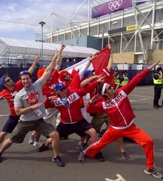 Canadians celebrating Womens Soccer win