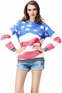 """Flag Print Hooded Sweat Hoodie. Description """"American Flag"""" hoodie. Long sleeved with insert pockets. Half-length front zipper. Hood has drawstring. Fabric Cotton and polyester fibre blend Washing 40 degree machine wash, do not bleach, do not tumble dry, cool iron on reverse, do not dry clean. #Romwe"""