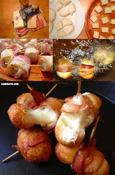 Cheesy Bacon Bombs (these look sooo good, perfect game day recipe) could make gluten free Finger Food Appetizers, Yummy Appetizers, Appetizer Recipes, Tapas, Cheesy Bacon Bombs, Bacon Bacon, Bacon Recipes, Cooking Recipes, Fingers Food