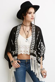 Tasseled Floral-Embroidered Kimono | FOREVER21 | #thespringcollection