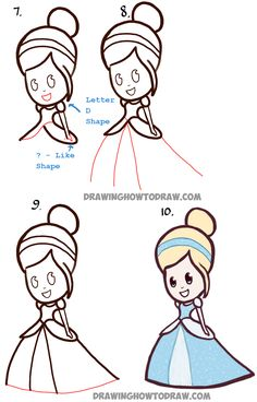 how to draw cute baby chibi cinderella easy step by step drawing tutorial easy disney drawingsdisney princess
