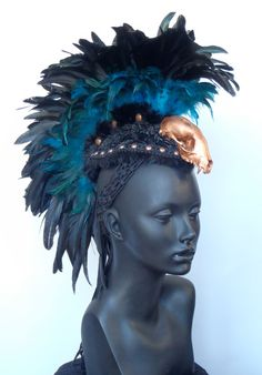 MADE TO ORDER Black & Teal Skull Feather by MissGDesignsShop