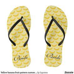 191a428ead6ea Yellow banana fruit pattern custom name flip flops - Durable Thong Style  Hawaiian Beach Sandals By