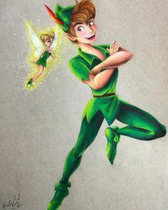 Peter Pan & Tinkerbell by Max Stephen Tinkerbell And Friends, Peter Pan And Tinkerbell, Peter Pan Disney, Disney Fan Art, Disney Love, Disney Magic, Disney Artwork, Disney Stuff, Disney And Dreamworks