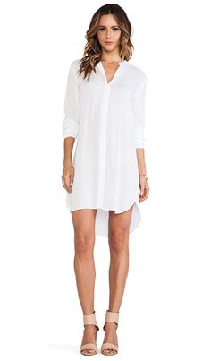 James Perse Collarless Shirt Dress in White Check out the CAbi Spring '15 Breeze Dress Set for our super-chic version of this look