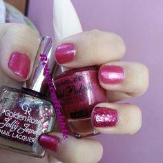 Pink nails using Dearlee Nail Polish #44 and Golden Rose-Jolly Jewels #108