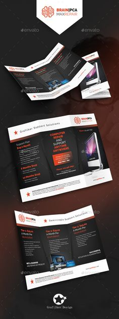 Computer Repair Tri-Fold Template PSD, INDD #design Download: http://graphicriver.net/item/computer-repair-trifold-templates/14377649?ref=ksioks