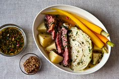 Now THIS is a St. Patrick's meal I can live with - Suzanne Goin's Corned Beef and Cabbage with Parsley-Mustard Sauce.