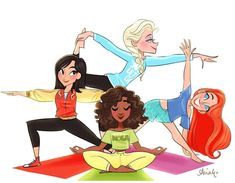 """""""Got my yoga in for day! (yeah I'm counting this as exercise) Also finally joining the for the new Princess loungewear because it's just so cute? Hope your Monday is motivational and peaceful! Disney Cute, Disney Nerd, Disney Fan Art, Disney Girls, Disney Princesses And Princes, Disney Princess Art, Pocket Princesses, Disney And Dreamworks, Disney Pixar"""