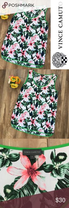 Vince Camuto Floral Tank Like new condition. 100% polyester. Vince Camuto Tops Tank Tops